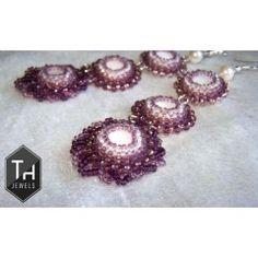 Lila cascade earrings, nacre and  Japanese TOHO/ Check Preciosa seed beads.