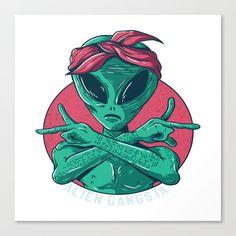 Alien Gangsta Sticker by Beauty - White Background - Graffiti Art, Wie Zeichnet Man Graffiti, Graffiti Drawing, Alien Tattoo, Alien Drawings, Cool Art Drawings, Psychedelic Art, Art Pop, Dope Kunst