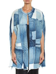 Saint Laurent - Patchwork denim cape
