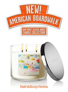 NEW Oceanside 3-Wick Candle – watery greens and cucumber blend deliciously with juicy melon and peony petals ♥ #AmericanBoardwalk