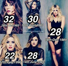 The real ages from the PLL cast Pretty Little Liars Meme, Pretty Little Lies, Life Movie 2017, Yandere, Pll Memes, Funny Memes, Tokyo Ghoul, Stevie J, Dramas