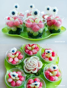 Watermelon flower fruit cups - Tea Party Food Ideas, pink and green party Girls Tea Party, Princess Tea Party, Tea Party Birthday, Birthday Ideas, Fruit Birthday, Kids Tea Parties, Tea Party For Kids, Flower Birthday, Girl Parties
