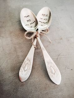 Wedding Gift, Anniversary Gift, Gift For Him, Gift For Her, Valentines Day Gift, Coffee Spoons, When You Are Near Music Is All Around  When You