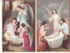 CHRISTMAS -- WESOLYCH SWIAT  -- Baby Jesus, Angels, (2) Polish postcards