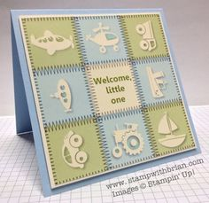 Stampin' Up!  ... handmade card from stampwithbrian.com - PP135 In Stitches ... hybrid card using quilt design made with MDS ... luv the soft blue anand green combo with vanilla ...