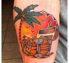 tattoo old school / traditional nautic ink - coconut palm