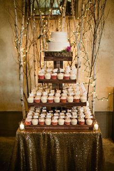 Rustic Wedding Cupcake Tower with Light Branches