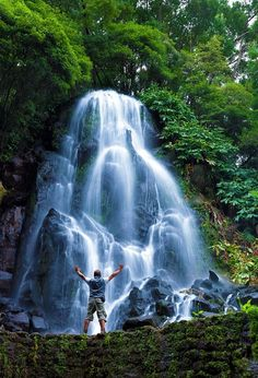 Waterfall in Natural Park of Ribeira Potholes, São Miguel Island, Azores Portugal