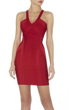 Sculpt a sultry look in this hot red dress that flatters the figure.