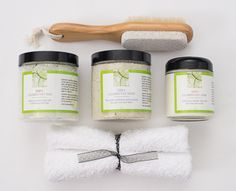 Cucumber extract, beloved for helping reduce swelling, makes this foot kit magical!  Set includes Cucumber Foot Soak, Cucumber Foot Scrub and Cucumber Foot Creme, dual purpose foot brush with pumice and white towel. Entire set tucked inside a clear travel bag with handle. Makes a wonderful gift of pampering for that special someone!