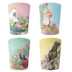Lilly Perrott's top selling Australian cockatoos illustration is now available on a melamine cup set of 4 pcs 10 cm high cup set, packaged in an illustrated gift box. Zombie Coffee, Mother Tattoos, Glass Coffee Cups, Cardboard Gift Boxes, Tree Carving, Beer Caps, China Mugs, Cockatoo