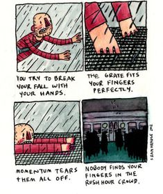 Animator Fran Krause has a webcomic where he draws his fears and those that people submit. It& utterly horrifying. Creepy Comics, Funny Comics, Creepy Stories, Horror Stories, Cartoon Theories, Deep Dark Fears, Creepy History, Face Everything And Rise, Art Jokes