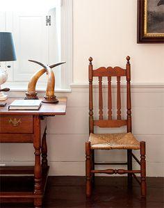 Walls painted in Benjamin Moore's Linen, Wainscoting is painted in Benjamin Moore's Revere Pewter.