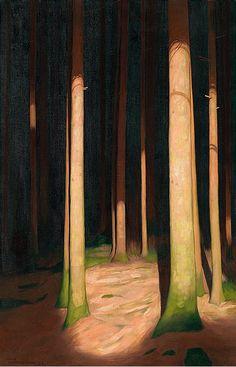 Hans Emmenegger (1866-1940), Waldinneres, 1933. oil on canvas,100,5 x 65 cm