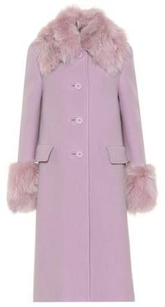 c66727ee331 Miu Miu Fur-trimmed wool and angora coat Luxury Fashion