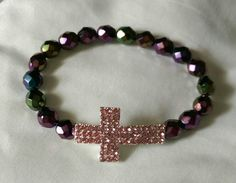 """""""Praise and worship"""" multi-color beads w/pink cross on a stretch band  #love924"""