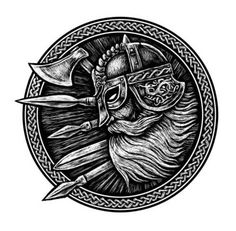 Ancient viking head in a ring with scandinavian ornament logo for mascot design. The ax , a sword , a spear - buy this stock illustration on Shutterstock & find other images. Tatoo Symbol, Tatoo Art, Body Art Tattoos, Norse Tattoo, Celtic Tattoos, Viking Tattoos, Symbols Tattoos, Ancient Vikings, Norse Vikings