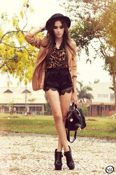 FashionCoolture 01/13/2013 look du jour romwe shirt leopard lace shorts hat Asos (1)