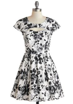 Portraiture Studio Dress. You see every visage as a work of art, and as you sketch each subjects unique expression today, they have the privilege of gazing at your rose-patterned dress. #wedding #modcloth
