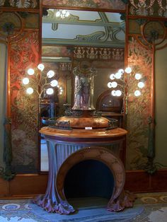Alphonse Mucha - this is part of the interior of the George Fouquet Shop which Much designed and is in the art nouveau style.