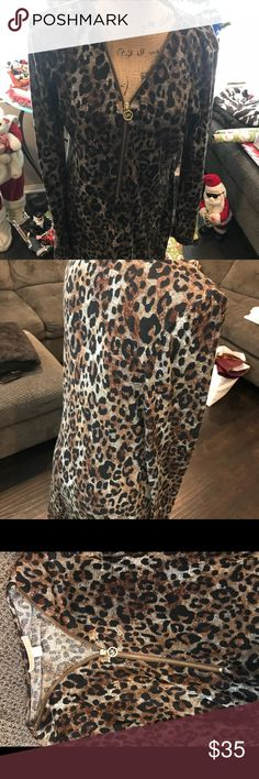 Dress/Top Long Animal print top wear with or without leggings and boots! Michael Kors Dresses Midi