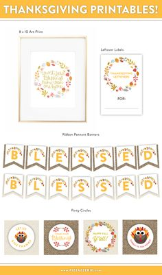 2014 Free Thanksgiving Printable Set on http://pizzazzerie.com
