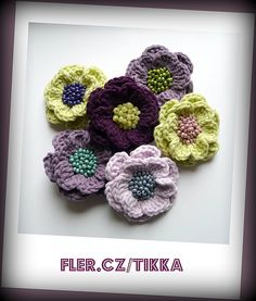 LOVE, LOVE, LOVE these crochet flowers with bead centres - these colours are to die for!