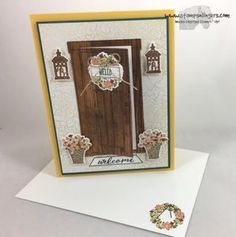 Stamps-N-Lingers. Sneak Peek of the At Home With You stamp set and At Home Framelits bundle. With Color Theory and Wood Textures DSP. For free instructions on how to make this card, please visit my blog at: https://stampsnlingers.com/2017/05/10/stampin-up-at-home-with-you-sneak-peek/