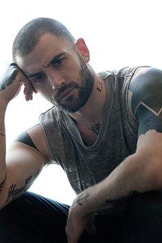 """Attraction."" Diamond. Beard. Muscle stamps. Tattoos, body art."