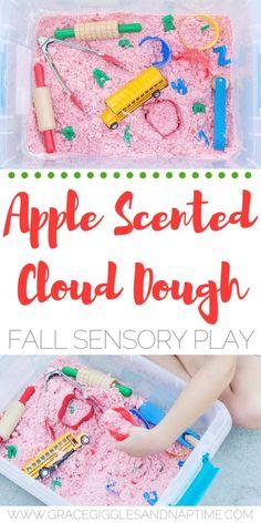 Apple Scented Cloud Dough: Fall Sensory Play - Grace, Giggles and Naptime Fall Sensory Bin, Sensory Table, Sensory Bins, Sensory Play, Sensory Bottles, Sensory Boards, Sensory Activities Toddlers, Autumn Activities, Toddler Preschool