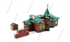 Kuzhenkino railway station H0 scale model for railroad dioramas