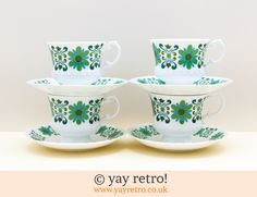 Floral brights cups and saucers from Yay Retro