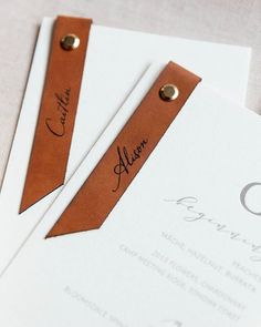 Etched leather tags on beautiful white and grey embossed wedding menus. Etched leather by Yonder Design ( Wedding Menu, Wedding Stationary, Wedding Invitations, Invites, Stationery Design, Invitation Design, Invitation Cards, Invitation Ideas, Menu Design
