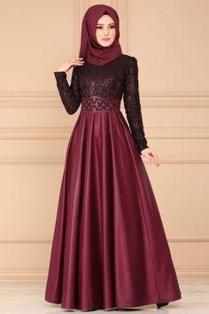 633e8f1d7a7bd Modaselvim ABİYE Flok Kemerli Abiye ASM2133 Bordo Hijab Evening Dress,  Hijab Dress, Hijab Outfit
