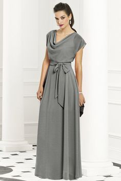Floor Length Dress Cowl Neck dress in a light pink.