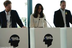 Kate, Princes William and Harry for the official kickoff of the charity focused on mental health issues, Heads Together, at the Queen Elizabeth Olympic Park. May 16th. 2016.