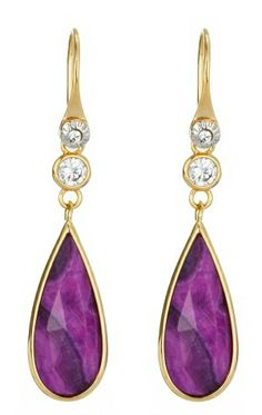 Purple Agate Raindrop Earrings at Henri Bendel