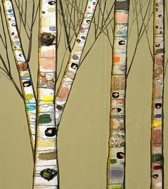 Birch Trees in Creamy Avocado Green - Oil Painting
