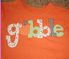 Fall Applique Thanksgiving Gobble Shirt for Boys