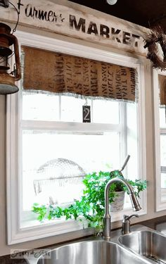 Burlap coffee bean sack window shades