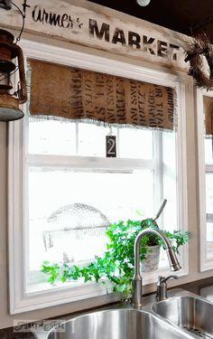 Burlap coffee bean sack window shades