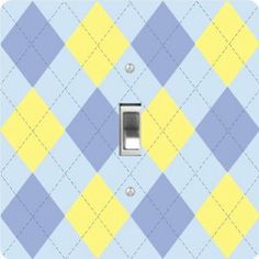 "Rikki KnightTM Blue & Yellow on Blue Argyle - Single Toggle Light Switch Cover by Rikki Knight. $13.99. The Blue & Yellow on Blue Argyle single toggle light switch cover is made of commercial vibrant quality masonite Hardboard that is cut into 5"" Square with 1'8"" thick material. The Beautiful Art Photo Reproduction is printed directly into the switch plate and not decoupaged which make these Light Switch Plates suitable for use in any room in the office, home, etc. etc....."