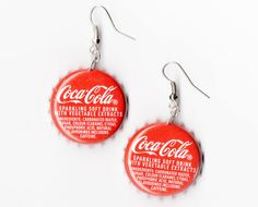 Quirky Upcycled Bottle Top Earrings