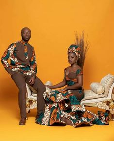 Ghanaian wedding shoot with Ankara print Couples African Outfits, African Wear Dresses, African Clothing For Men, Couple Outfits, African Inspired Fashion, African Print Fashion, Ankara Fashion, African Wedding Attire, African Attire