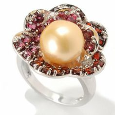 Sterling Silver 9-10mm Semi-Round Golden South Sea Cultured Pearl & Gem Flower Ring