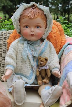 "Adorable 22"" Early antique vintage baby doll composition, Cloth Jointed."