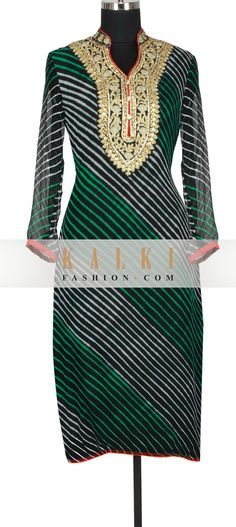 Buy Online from the link below. We ship worldwide (Free Shipping over US$100) http://www.kalkifashion.com/black-georgette-straight-cut-kurti-in-leheriya-print-embellished-in-gotta-patti-and-zari-only-on-kalki.html