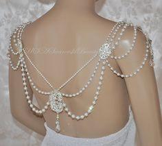 Necklace For The SHOULDERS OOAK Bridal Jewelry Swarovski Necklace Back Gatsby Vintage 1920's jewelr Statement Jewelry Wedding Back Jewelry