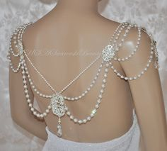 Necklace For The SHOULDERS OOAK Bridal Jewelry Swarovski Necklace Back Gatsby…