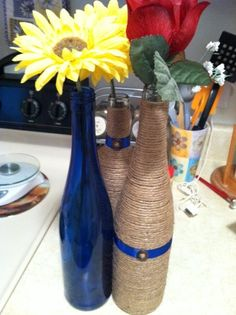 DIY w/wine bottles, need advice! :  wedding autumn blue brown centerpieces diy fall flowers inspiration orange pinterest reception red rustic twine wine bottles yellow Centerpiece WineBottles